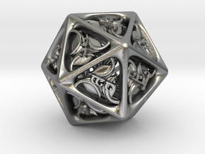 Tengwar Elvish D20 in Natural Silver: Small