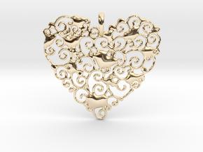 Ornamental Heart Pendant in 14k Gold Plated Brass