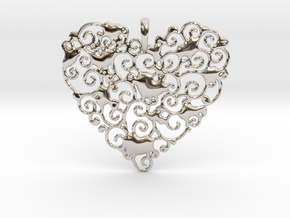 Ornamental Heart Pendant in Rhodium Plated Brass