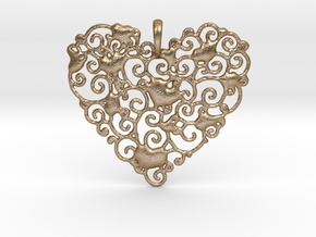 Ornamental Heart Pendant in Polished Gold Steel