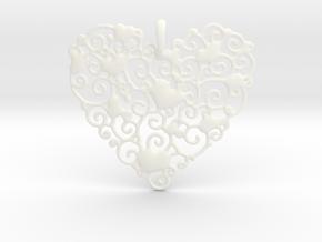 Ornamental Heart Pendant in White Processed Versatile Plastic