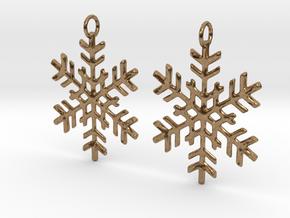 Snowflake Earrings in Natural Brass