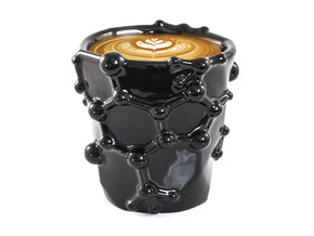 Caffeine Molecule Coffee Mug in Gloss Black Porcelain