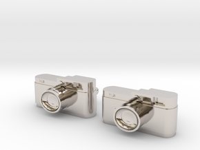 Camera Cuff Links in Rhodium Plated Brass