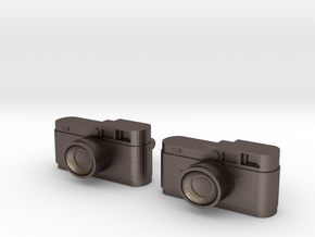 Camera Cuff Links in Polished Bronzed Silver Steel