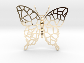 Butterfly Voroni Pendant in 14k Gold Plated Brass