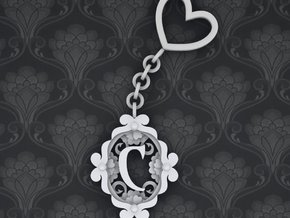 C Keychain Art Nouveau  in White Strong & Flexible Polished