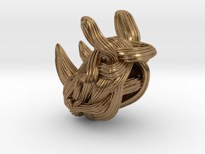 Rhino Pendant - Head  in Raw Brass