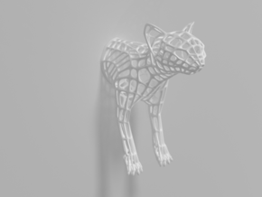 """""""Caliph The Cat"""" Wire Sculpture front in White Natural Versatile Plastic"""