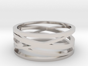 Abstract Lines Ring - US Size 10 in Rhodium Plated Brass