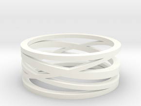 Abstract Lines Ring - US Size 10 in White Processed Versatile Plastic