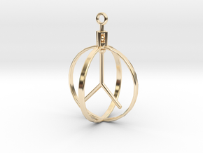 Peace Pendant (Spinning center) in 14k Gold Plated Brass