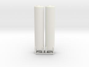 N Scale 2x Vertical Tank ø12-55 in White Natural Versatile Plastic