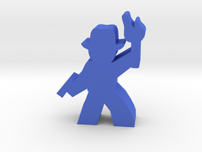 Game Piece, Hat Guy Adventurer, with gun, torch in Blue Processed Versatile Plastic