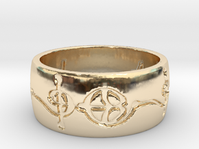 """Ashayam"" Vulcan Script Ring - Engraved Style in 14k Gold Plated Brass: 6 / 51.5"