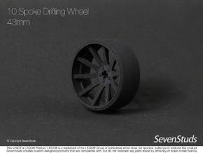 10 Spoke Drifting Wheel 43mm in Black Natural Versatile Plastic