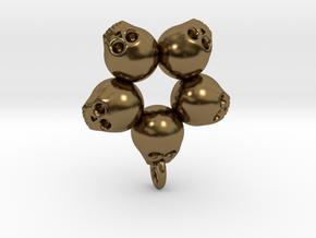 5skull pendant in Polished Bronze
