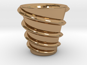 Maelstrom cup (Twin stream) in Polished Brass