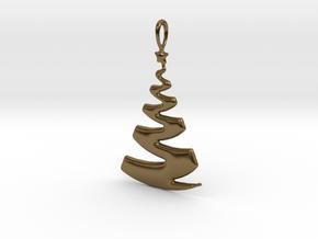 Christmas Tree Ribbon Pendant in Polished Bronze