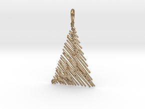 Christmas Tree Pendant Style 1 in Polished Gold Steel