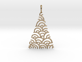 Christmas Tree Pendant Style 2 in Polished Gold Steel
