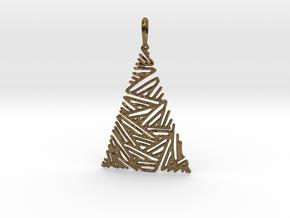 Christmas Tree Pendant 3 in Polished Bronze