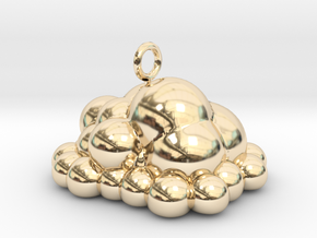 Puffy Cloud Dangler - 4cm in 14k Gold Plated Brass