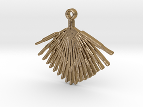 Palmetto Leaf pendant in Polished Gold Steel