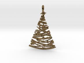 Christmas Tree Pendant 4 in Polished Bronze
