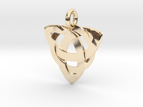 Celtic Knot Necklace Pendant (Inverted Triquetra) in 14K Yellow Gold