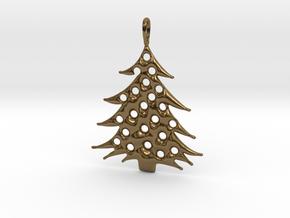 Christmas Tree Pendant 5 in Polished Bronze