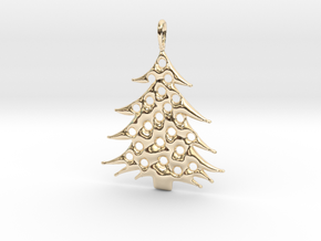 Christmas Tree Pendant 5 in 14k Gold Plated Brass