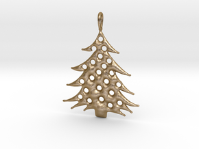 Christmas Tree Pendant 5 in Polished Gold Steel
