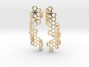 Bees and Honeycomb Earrings in 14K Yellow Gold