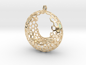 Bee and honeycomb - Pendant in 14K Yellow Gold