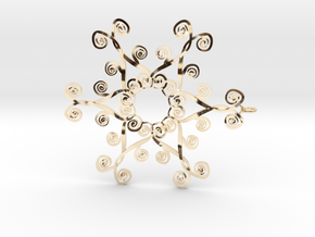 Suessish Snow Flake - 7cm in 14K Yellow Gold