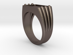 Customizable Ring 02 in Polished Bronzed Silver Steel