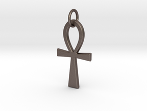 Ankh Pendant or Keychain in Polished Bronzed Silver Steel