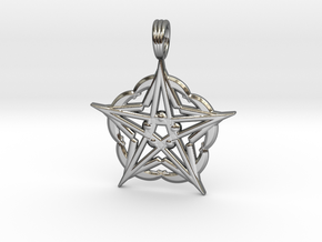 CRESCENT MOON STAR ALPHA in Premium Silver