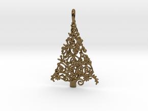 Christmas Tree Pendant 7 in Polished Bronze