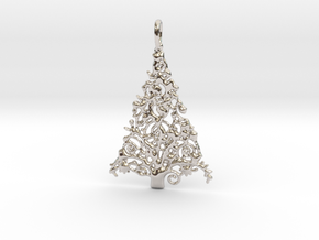 Christmas Tree Pendant 7 in Rhodium Plated Brass
