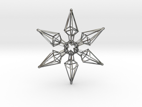 6 Point Ninja Star - 7cm in Fine Detail Polished Silver