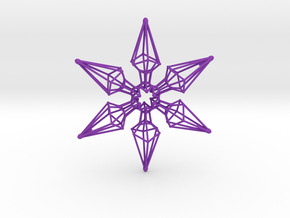 6 Point Ninja Star - 7cm in Purple Strong & Flexible Polished