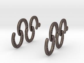 Horseshoe Earring in Polished Bronzed Silver Steel