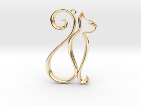The Cat Pendant in 14k Gold Plated Brass
