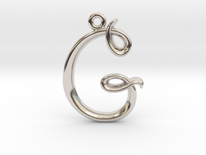 G Initial Charm in Rhodium Plated Brass