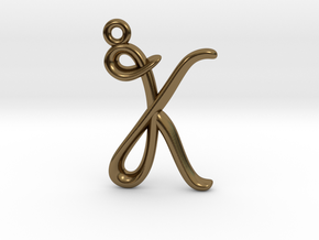 K Initial Charm  in Polished Bronze