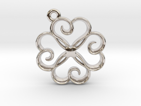 Tiny Clover Charm in Rhodium Plated Brass