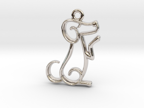 Tiny Dog Charm in Rhodium Plated