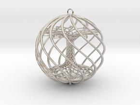 Tree Xmas Ball in Rhodium Plated Brass